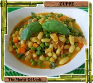 Zuppa speziata di cannellini e piselli