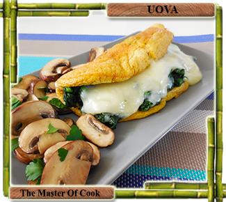 Omelette spumosa con spinaci e Dolce sardo